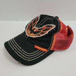 Pontiac Firebird Patch Logo Gm Licensed Mesh Snapback Hat Cap Distressed Vintage