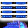 "8pcs Marine Boat Bow Navigation Lights 3.8"" Blue 6 LED Deck Stern Transom Light"