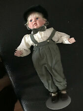 Porcelaine Doll Boy Bowtie Suspenders 16 inches tall signed