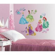 37 Disney Princess ROYAL DEBUT Wall Decals Ariel Rapunzel Glitter Stickers Decor