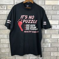 Vtg Fruit Of The Loom Mens XL Single Stitch T Shirt Black Faded 80s 90s Rare