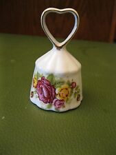 Fine Bone China Bell Roses Gold Trim Ruffled Beautiful Sound Heart Handle