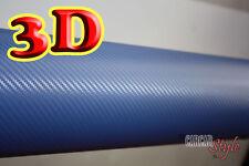 3D 【 Azul 100mm X 1520mm 】 Fibra De Carbono/Fibra Envuelva Vinilo Hoja De
