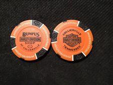 """Harley Davidson Poker Chip (Orange & Black) """"Bumpus H-D Shop"""" Collierville,TN."""