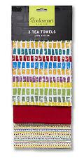 Cooksmart Seville Tea Towels Pack of 3 Drying Cloth Kitchen Cotton Multi Colour
