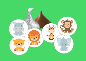 108 Baby Jungle Safari Zoo animals hershey kiss stickers party favors shower