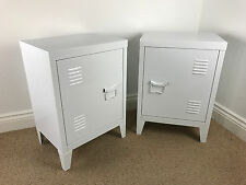 *ASSEMBLED* PAIR of Retro Locker Side Cabinets VINTAGE INDUSTRIAL BEDSIDE TABLES