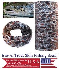 Fly Fishing Outdoor Scarf UVP Bandeau Face Neck Gaiter Brown Trout Microfiber