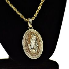 "La Virgen De Guadalupe Chain Oval Virgin Mary Gold Tone Glitter Cadena 24"" Rope"