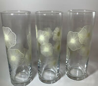 MCM Yellow Atomic Starburst Glasses Flower Tumblers High Ball Vintage