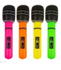 4x Inflatable Microphone Blow Up Mic Neon Fancy Dress Party Accessory Karaoke UK