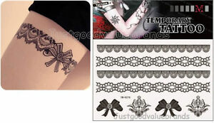 Set of 4 Sexy French Lace Garter Lace Temporary Tattoo Hen Party Waterproof