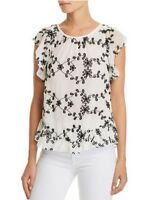 NEW Joie Candida Silk Lace Top in White/Black - Size XS #T44