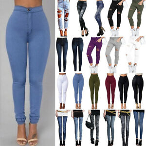 Womens Ripped Distressed Skinny Jeans Jeggings Pencil Pants Slim Long Trousers