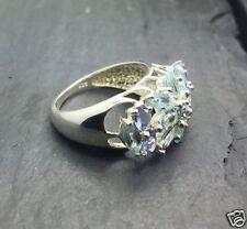$259.00 Violet Blue Tanzanite & Topaz Gemstone Flower Size 6.5 Ring 925 Silver