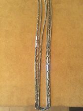 Vintage Signed Park Lane Multi Three Strand Silver Tone Chain Bar Long Necklace