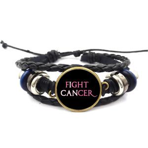 Fight Cancer Pink Glass Cabochon Bracelet Braided Leather Strap Bracelets