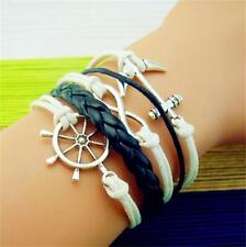 JT13 NEW Infinity Love Sailor Anchor Leather Charm Bracelet plated Silver DIY
