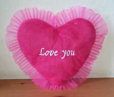 Love You Plush Heart Pillow (9 in Pink C3835