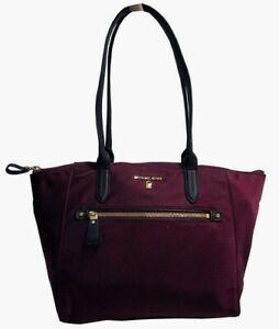 Michael Kors KELSEY Medium Nylon Tote Shoulder Bag Plum Msrp:$128.00