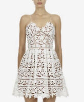 L'atiste By Amy White Lace Dress Size S Crochet Overlay Nude Lined Pockets