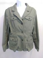 Great Northwest 100% Cotton Military Green Button Up Jacket Womens Large Regular