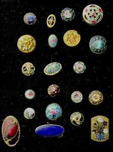 EARLY ANTIQUE Assorted VICTORIAN Diminutive Buttons LEATHER HOLDER LOT L