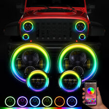7'' RGB LED Halo Headlights Fog Light Combo Kit for Jeep Wrangler JK Muti-Color