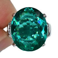 DEEP GREEN SEA APATITE OVAL RING SILVER 925 UNHEATED 10.95 CT 17.1X14 MM. S 6.25