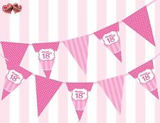 Perfect Pink Happy 18th Birthday Vintage Polka Dots Stripes Theme Bunting Banner