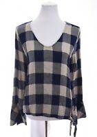 Cloth & Stone Anthropologie Tie Front Tunic Top Bell Sleeve Print Blue Sz Large
