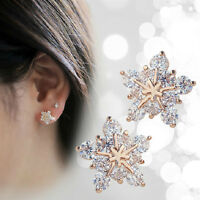 1 Pair Korean Cute Gold Tone Crystal Rhinestone Snowflake Ear Stud Earrings Gift