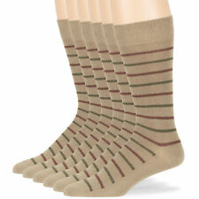 Men Cotton Striped Patterned 6 Pack Dress Business Casual Sock Beige 10-13 Large