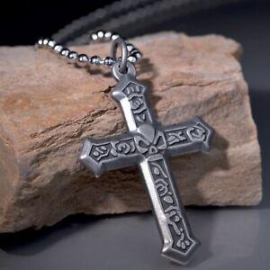 "Gunmetal grey skull cross pendant silver stainless steel chain necklace 24"""