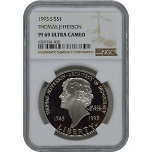 1993 S Thomas Jefferson Commemorative Proof one Dollar NGC PF69 Ultra Cameo