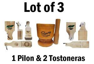 Lot of 3 Puerto Rico Big Size Wood Mortar & Pestle & 2 Tostonera COQUI DESIGN
