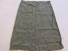 New Women's $88 Max Edition 100% Linen A-Line Button-Up Skirt Army Green Size 8