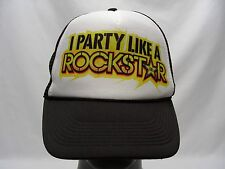 I PARTY LIKE A ROCKSTAR - TRUCKER STYLE - ADJUSTABLE SNAPBACK BALL CAP HAT!