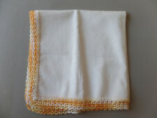 "Vintage New Handkerchief 12.5"" x 12.5"" Orange Yellow Embroidered Lace Trim Linen"