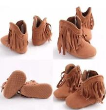 Brown Fringed Cowgirl Boots Baby Infant Girls Fashion Crib Shoes Casual 6/12M