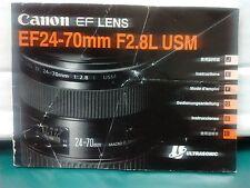 Canon EF24-70mm F2.8L USM lens instruction manual  2002