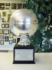 FANTASY LARGE SILVER RESIN BASKETBALL 16 YEAR PERPETUAL TROPHY SLEEK BLACK BASE