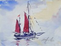 """ORIGINAL watercolour PAINTING red sails boat  decked paper 16""""x12"""" Marilyn Allis"""