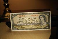 1954 $20 Dollar Bank of Canada Banknote ME9759783 VF 20 Crisp