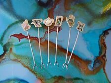 THE EXCLUSIVE CUTLERY SHOP SEAFOOD FORKS HANDMADE 1940 ERA ABALONE SHELL