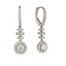 18 Kt White Gold Halo Dangle Earrings With .91 Cts Round Diamonds