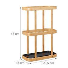 Relaxdays Portaombrelli Bastoncino di legno e metallo per Vaschetta Axlxp 45
