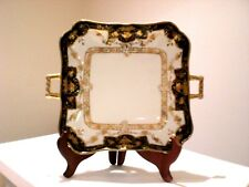 2-Pc. Nippon Porcelain Hand Painted, Gold Encrusted Open Handled  Dish / Bowl