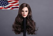 1/6 American Female Head Sculpt Long Brown Hair For Hot Toys PHICEN Figure USA