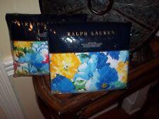 NIP Ralph Lauren Ashlyn Floral Blue Multi Quilted Euro Shams (2)
